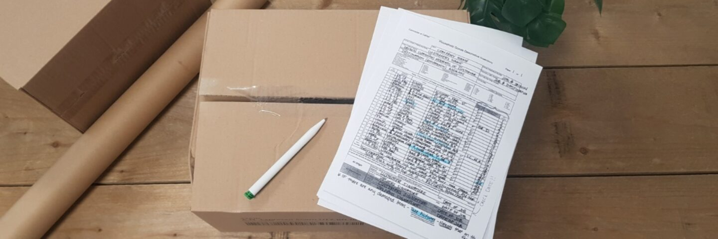 Handwritten inventory list packers and movers