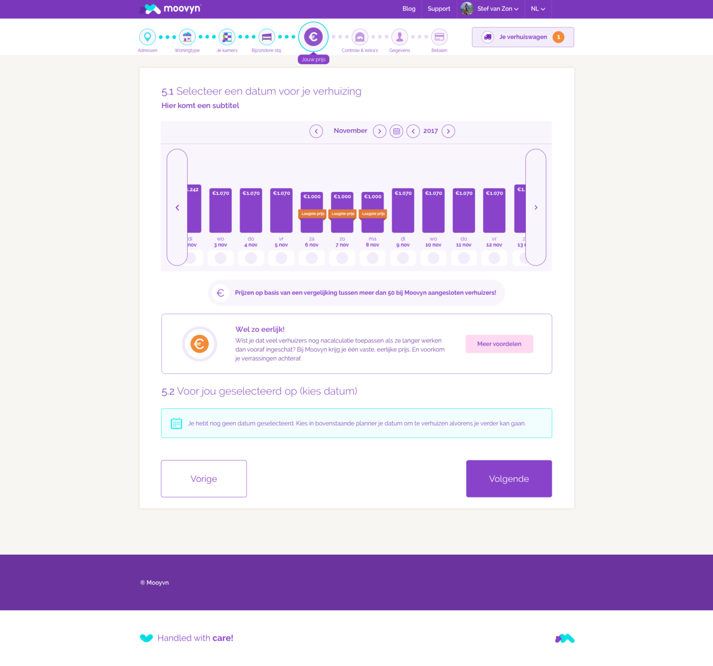 Moovyn booking page