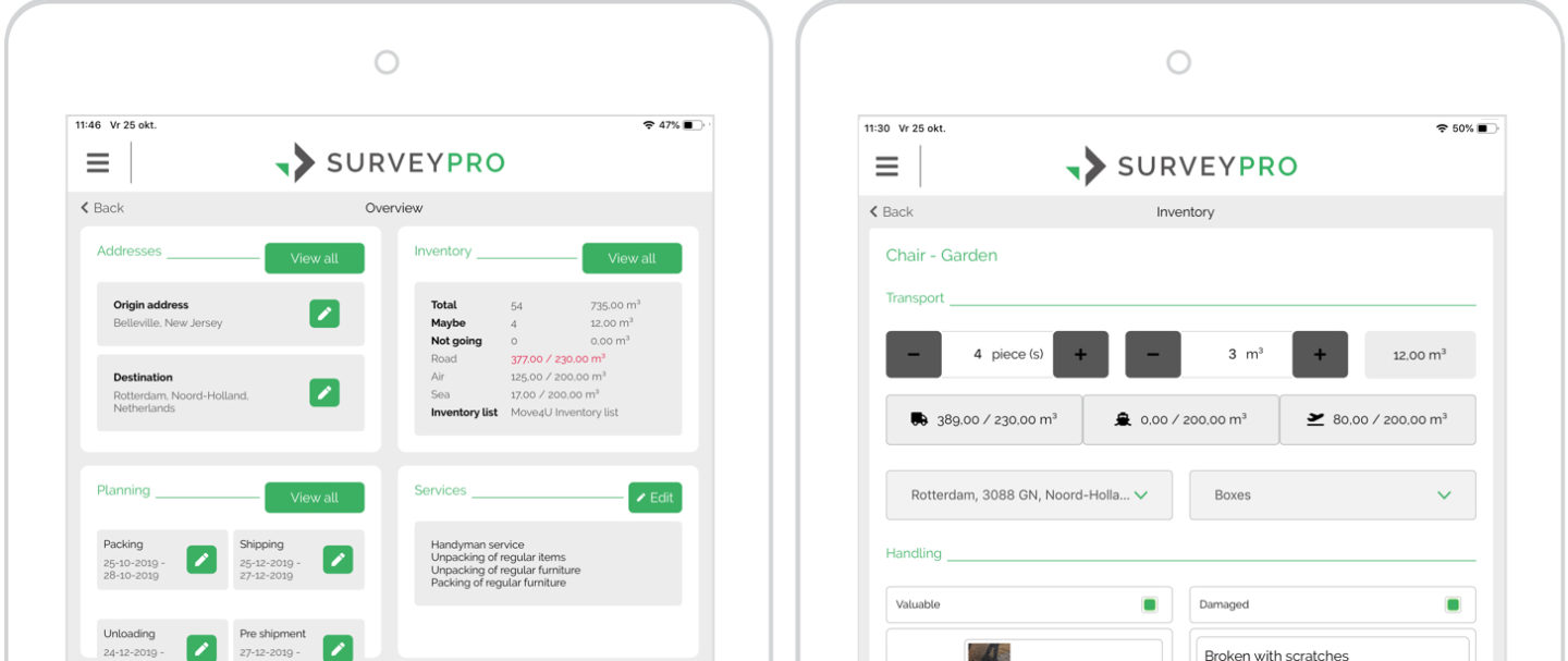 Screens SurveyPro app: pre-move survey overview & specify home inventory item